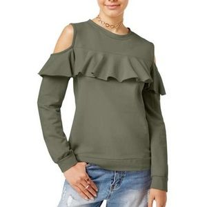 Prolly Esther green cold shoulder ruffle sweater D